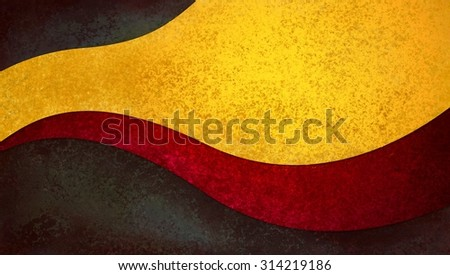 abstract background design with curves and waves in red and gold on black - stock photo