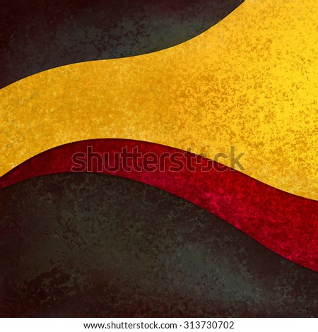 abstract background design with red and gold curves and waves on black background - stock photo