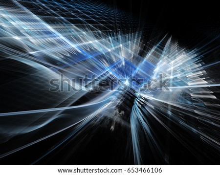 Abstract background element. Three-dimensional composition of repeating grids. Information technology concept. Blue and black colors.