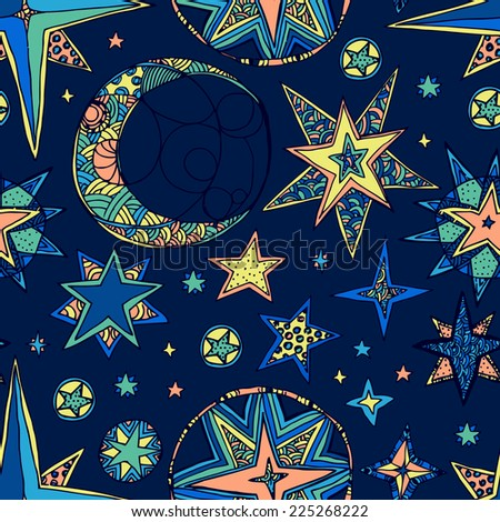 Abstract background, fantasy starry sky. Seamless dark square pattern. - stock photo
