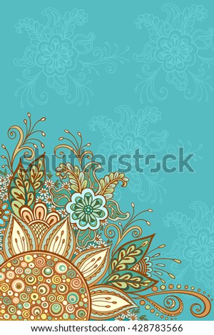 Abstract Background, Floral Ornament, Colorful and Outline Contour Pattern, Symbolic Flowers and Leafs.  - stock photo