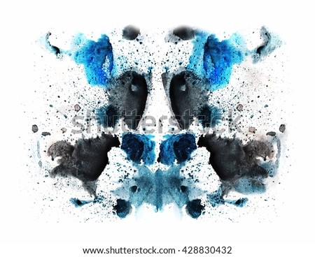 abstract background for design. oil. watercolor. acrylic. abstract hand painted watercolor ink rorschach grunge background, black and blue flower. Hand made technique, genuine original effect. - stock photo