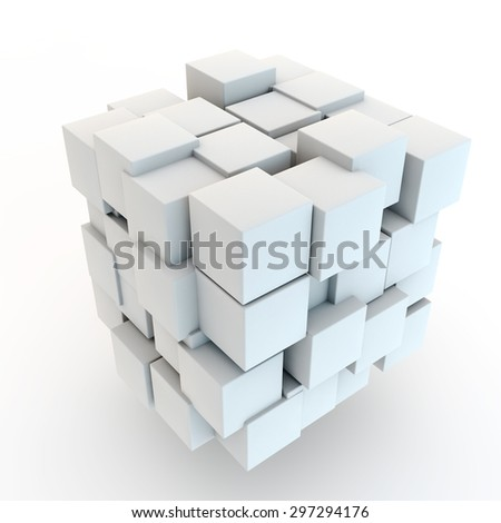 abstract background from chaotically placed white cubes - stock photo