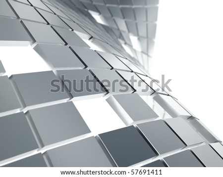 abstract background from gray metallic cubes on a white - stock photo