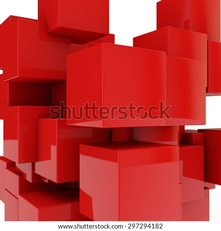 abstract background from red cubes - stock photo