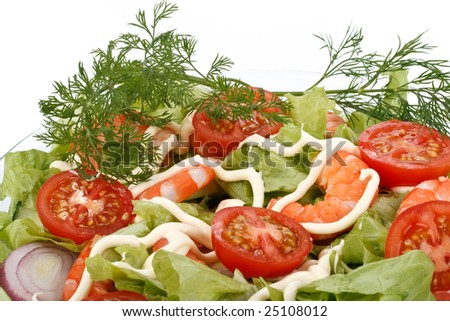 Abstract background from salad with tiger shrimps