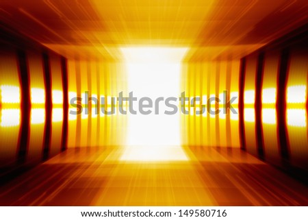 Abstract background - glowing perspective grid, bright light from doorway - stock photo