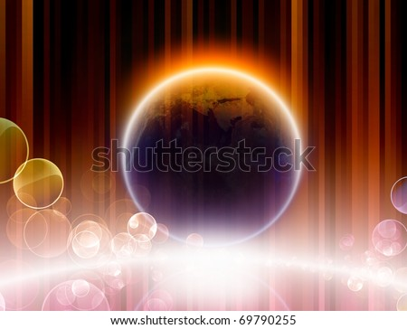 Abstract background - glowing planet with reflection