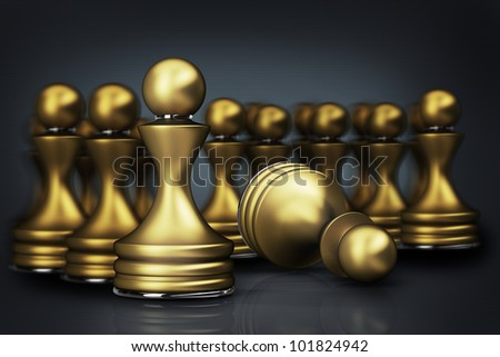 abstract background golden chess pawn 3d illustration. high resolution - stock photo