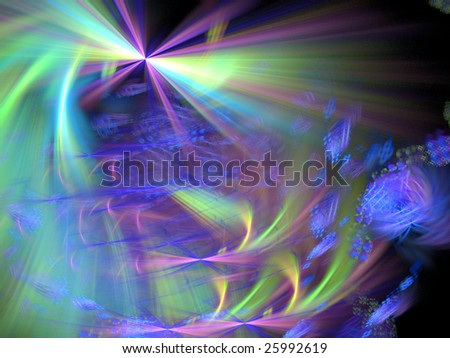 Abstract background. Green - blue palette. Raster fractal graphics.