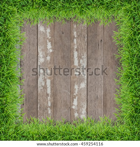 Abstract background green grass frame with vintage wooden texture background.