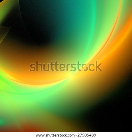 Abstract background. Green - orange palette. Raster fractal graphics. - stock photo