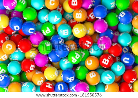 Abstract Background. Heap of closeup color Vitamins sphere - stock photo