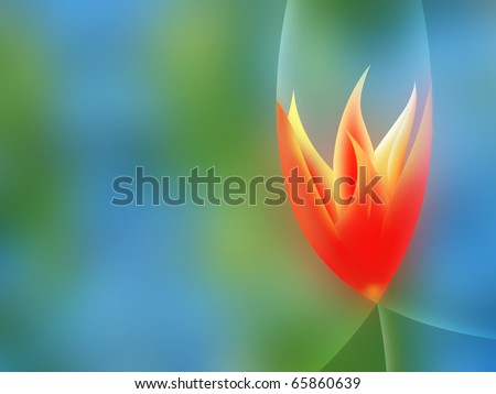 Abstract background illustration of pointed petals tulip - stock photo