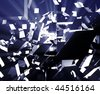 Abstract background illustration of shattered exploding geometric shapes - stock photo