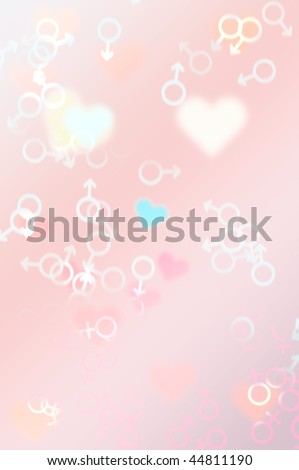 abstract background illustration with geometric shapes and hearts - symbol for love and valentine's day