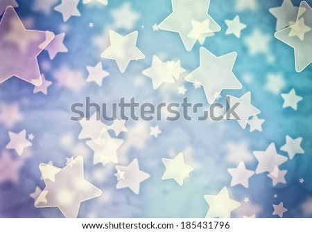 Abstract background image of blue stars lights and beams - stock photo