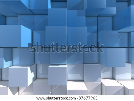 Abstract background image of cubes in blue to white tones - stock photo