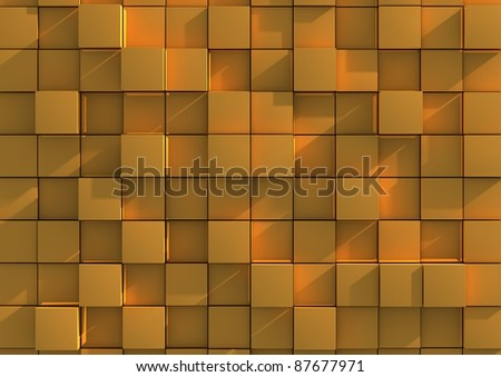 Abstract background image of gold cubes - stock photo