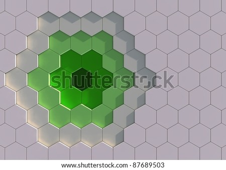 Abstract background image of green and white tiles - stock photo