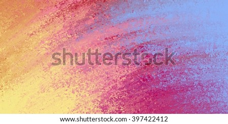 abstract background in bright yellow gold, rose pink and sky blue  colors, blurred paint texture and spatter in curved random streaks - stock photo