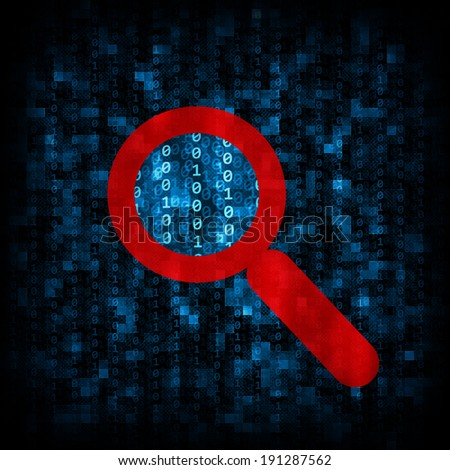 Abstract background is binary code and magnifier icon. Electronic concept - stock photo
