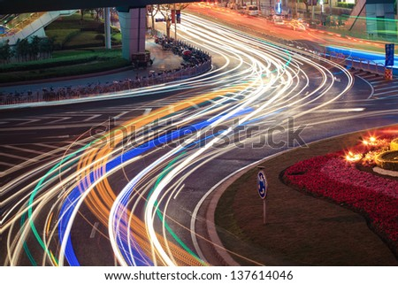 abstract background,light trails on the street in shanghai. - stock photo