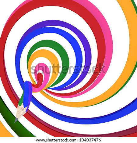 Abstract background line of colour pencil as rainbow illustration