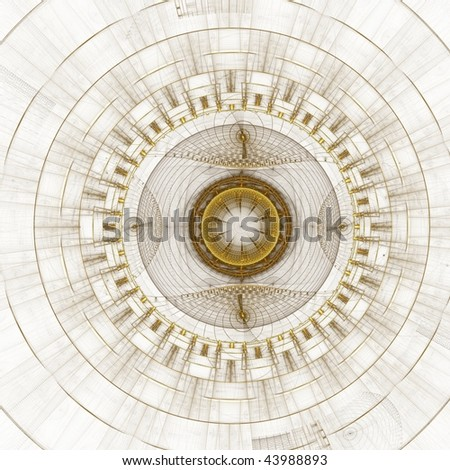 Abstract background looking like a gold old-fashioned watch or a compass. - stock photo