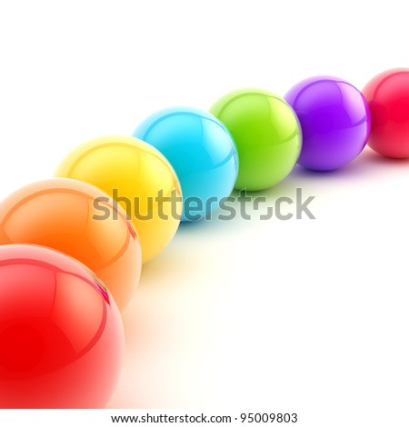 Abstract background made of a row of colorful glossy spheres - stock photo