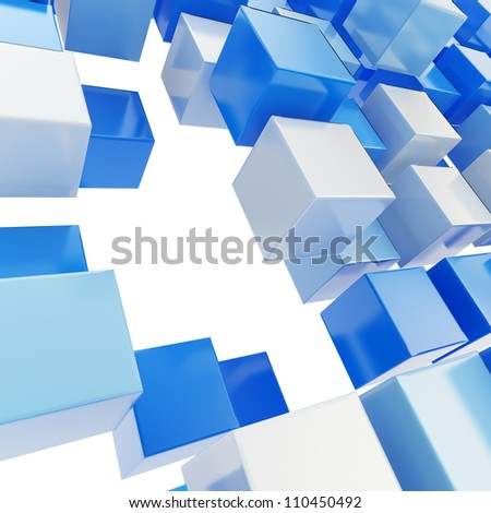 Abstract background made of blue plastic glossy cubes on white - stock photo