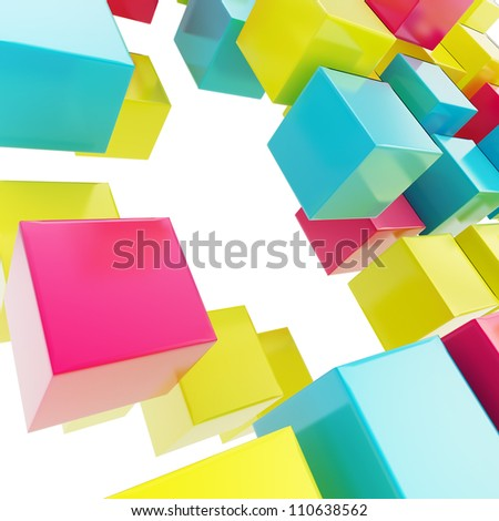 Abstract background made of cmyk colored glossy cubes on white - stock photo