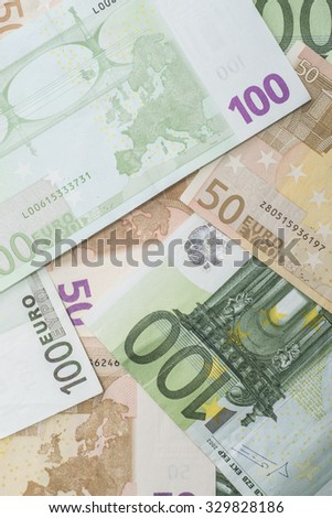 Abstract background made of euro banknotes - stock photo