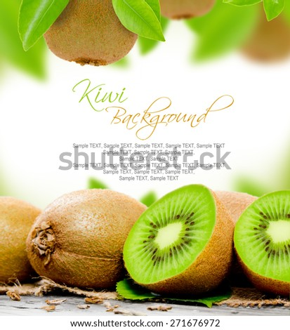 Abstract background made of kiwi and leaves - stock photo