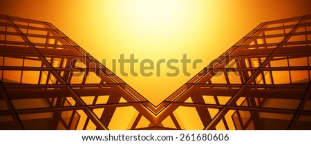 Abstract background made of modern office buildings, orange color filtered. - stock photo