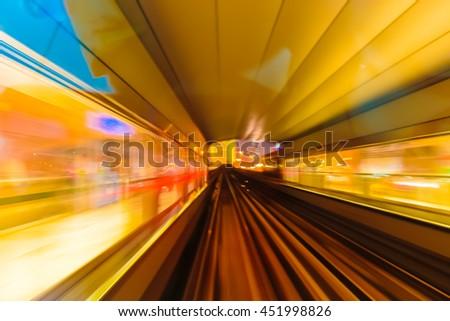 Abstract background metro subway tracks blur - stock photo