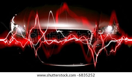Abstract Background: modern car in shadows with electric waves - stock photo