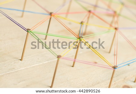 Abstract background networking,social media concept, internet communication concept,link concept,on wood background. - stock photo