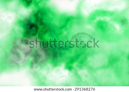 Abstract background of a planet hidden in a green nebula - stock photo