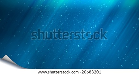 Abstract background of a sheet of a paper of blue color with the wrapped up corner
