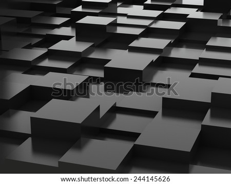 Abstract background of black 3d blocks - stock photo