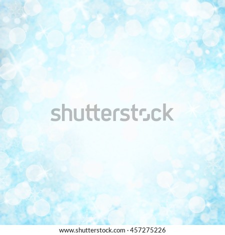 Abstract background of blue bokeh holiday lights with copy space.  - stock photo