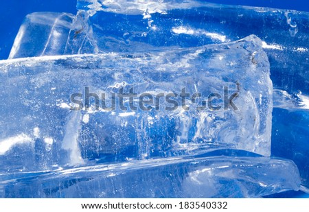 abstract background of blue ice - stock photo