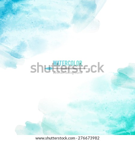 abstract background of blue watercolor stains - stock photo
