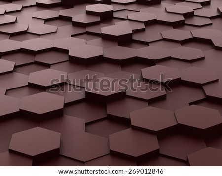 Abstract background of brown 3d hexagon blocks - stock photo