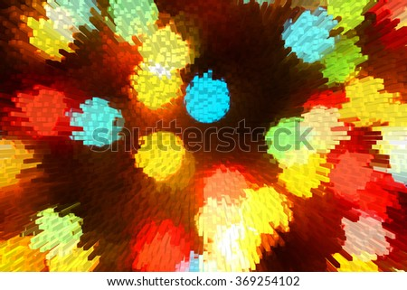 Abstract background of colored circles on light background. Computer processing, stylized painting.