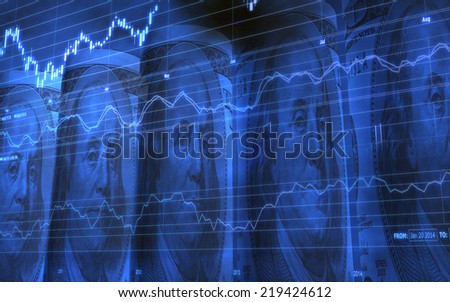 Abstract background of Five Rolled Up 100 Dollars Bills Showing Ben Franklin - stock photo