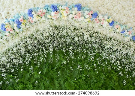 Abstract background of flowers. Close-up floral wedding backdrop - stock photo