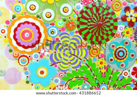 Abstract background of flowers. Flower mix in the unique art painting, environment background surface, floral pattern, embossing ,carving and 3d print.