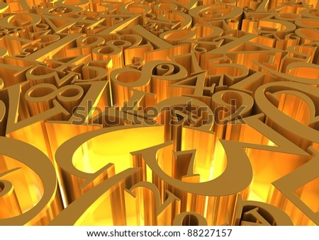 Abstract background of gold numbers - stock photo